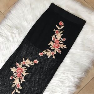 MINKPINK black mesh floral appliqué midi skirt
